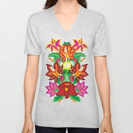 Mexican Exotic Flowers Unisex V-Neck