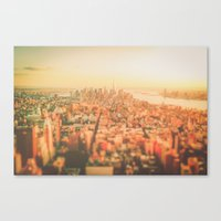new york city Canvas Prints featuring New York City Sunset by Vivienne Gucwa