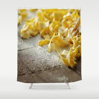 pasta Shower Curtains featuring Fresh Italian Pasta by Tanja Riedel