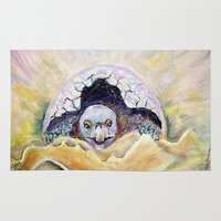 tortoise Area & Throw Rugs featuring Baby Tortoise by CrismanArt