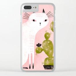 CAT & CACTUS Clear iPhone Case