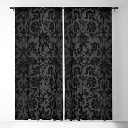 Black Damask Pattern Design Blackout Curtain