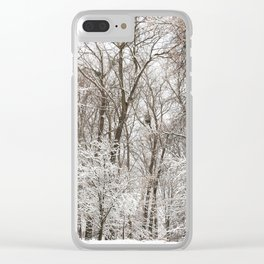 snow-covered trees and bushes Clear iPhone Case