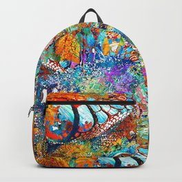 Colorful Iguana Art - Tropical Two - Sharon Cummings Backpack