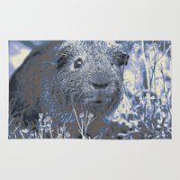 guinea pig Area & Throw Rugs featuring blue guinea pig by MehrFarbeimLeben