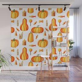 Orange Pumpkin Halloween Pattern Wall Mural
