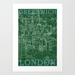 Greenwich London (green) Art Print