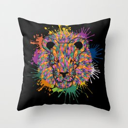 Lion Face Color Splashes Throw Pillow