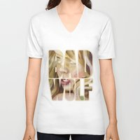 bad wolf V-neck T-shirts featuring Bad Wolf by rointheta