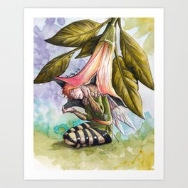 Fairy hiding under angel trumpet Art Print