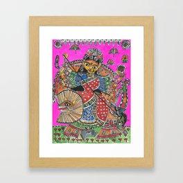 Madhubani - Pink Durga Framed Art Print