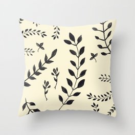 Black Leaves Pattern #2 #drawing #decor #art #society6 Throw Pillow