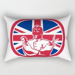 British Barber Union Jack Flag Icon Rectangular Pillow