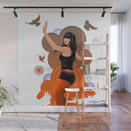Dancing girl with doves Wall Mural