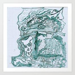 Encre vert Art Print