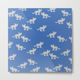Little baby leopard kids cat pattern eclectic blue Metal Print