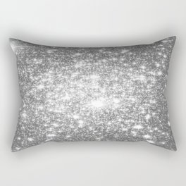 Silver Gray Galaxy Sparkle Stars Rectangular Pillow