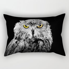 Owl photograph, black and white, with colored golden eyes Rectangular Pillow