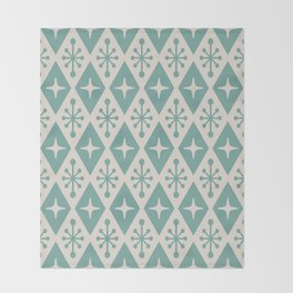 Mid Century Modern Atomic Triangle Pattern 710 Green and Beige Throw Blanket