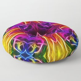 Rainbow Rose Kaleidoscope Mandala Floor Pillow