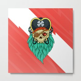 Pixel Pirate Metal Print