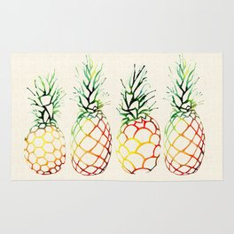 Burlap Pineapples Rug