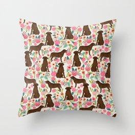 Labrador Retriever florals chocolate lab cute pet gifts must have labrador florals Throw Pillow
