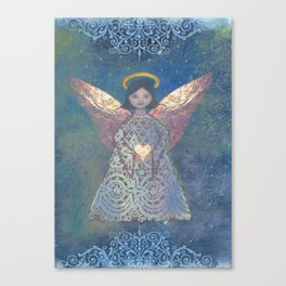 Christmas peace Angel love art illustration Canvas Print