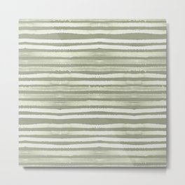 Simply Shibori Stripes Green Tea and Lunar Gray Metal Print
