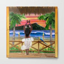 Hawaiian Sunset Hula Dancer Metal Print