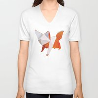 origami V-neck T-shirts featuring Origami Fox by dellydel