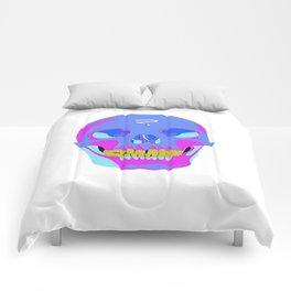 Neon Pixel Psychaedelic Halloween Skull  Comforters