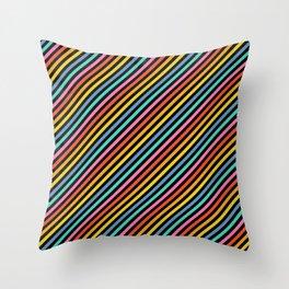 Diagonal Lines on Black Throw Pillow