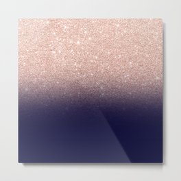 Modern faux rose gold glitter ombre gradient on navy blue Metal Print