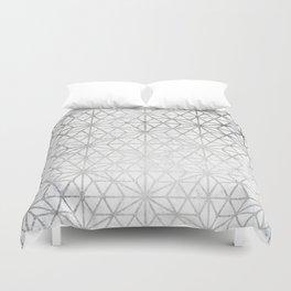 Modern silver stars geometric pattern Christmas white marble Duvet Cover