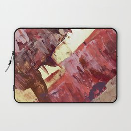 Desert Sun: A bright, bold, colorful abstract piece in warm gold, red, yellow, purple and blue Laptop Sleeve