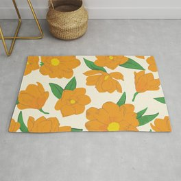 Bright orange magnolias pattern Rug
