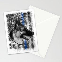 Thin Blue Line German Shepherd Police Dog K9 design Stationery Cards