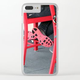 Sitting Cross Legged On The Red Chair Clear iPhone Case