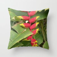 """indonesia Throw Pillows featuring Flower """"Heliconia"""" (Bali, Indonesia) by Christian Haberäcker - acryl abstract"""