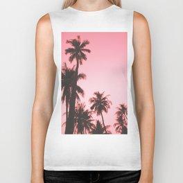 Tropical palm trees on beige pink Biker Tank
