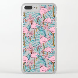 Boho Flamingo #illustration #pattern #tropical Clear iPhone Case