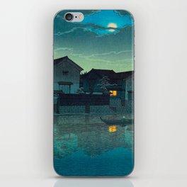 Kawase Hasui Vintage Japanese Woodblock Print Japanese Village Under Moonlight Cloudy Sky iPhone Skin