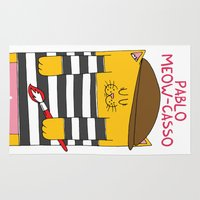 pablo picasso Area & Throw Rugs featuring Pablo Meow-casso by Adrian Serghie