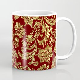 Red & Gold Floral Damasks Pattern Coffee Mug