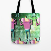 katamari Tote Bags featuring Katamari Cousins - Macho by cakeisforrobots