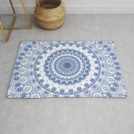 Blue and White Fractal Mandala Rug