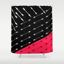 Red black , white pattern Arrow . Shower Curtain