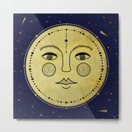 Moonface - Blue & Gold Metal Print