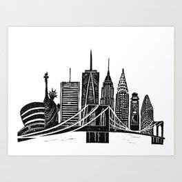 Linocut New York Art Print